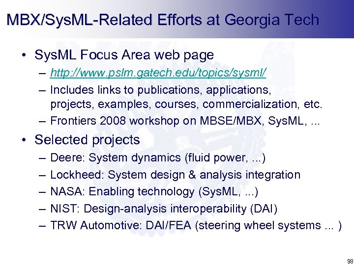 MBX/Sys. ML-Related Efforts at Georgia Tech • Sys. ML Focus Area web page –