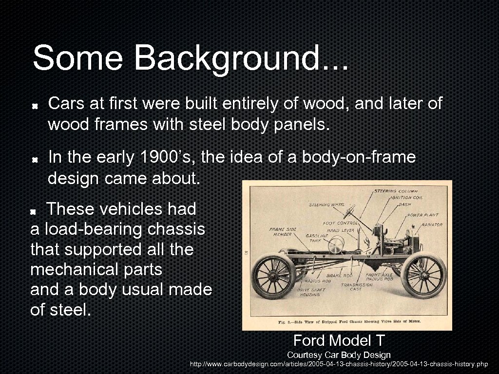 Some Background. . . Cars at first were built entirely of wood, and later