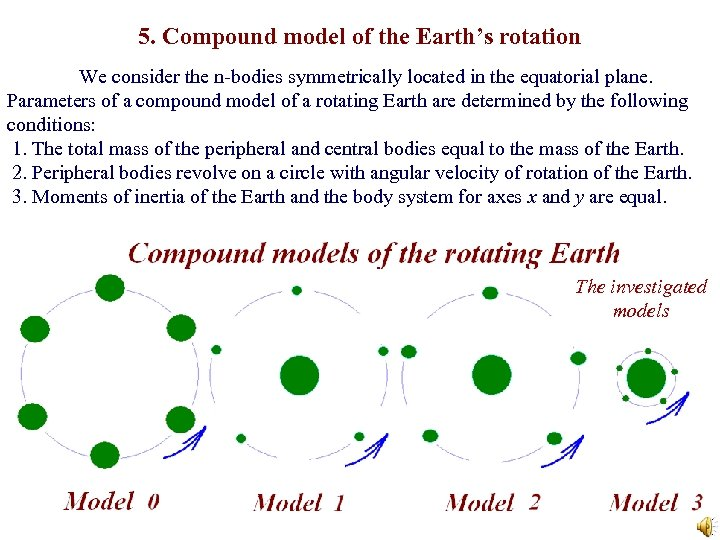 5. Compound model of the Earth's rotation We consider the n-bodies symmetrically located in