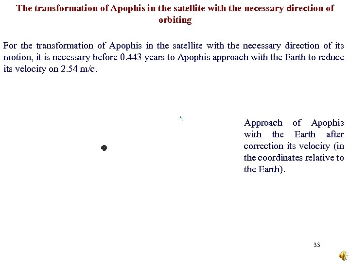 The transformation of Apophis in the satellite with the necessary direction of orbiting For