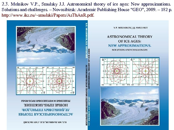 2. 3. Melnikov V. P. , Smulsky J. J. Astronomical theory of ice ages: