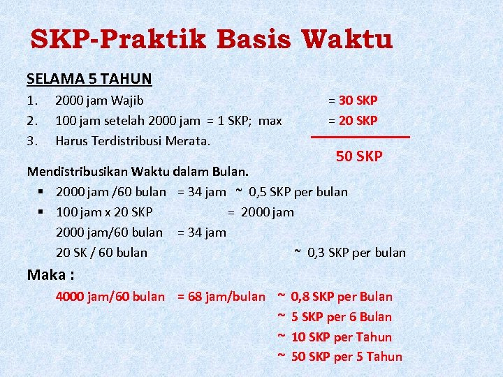 SKP-Praktik Basis Waktu SELAMA 5 TAHUN 1. 2. 3. 2000 jam Wajib 100 jam