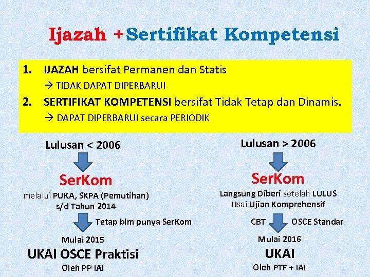 Ijazah + Sertifikat Kompetensi 1. IJAZAH bersifat Permanen dan Statis TIDAK DAPAT DIPERBARUI 2.