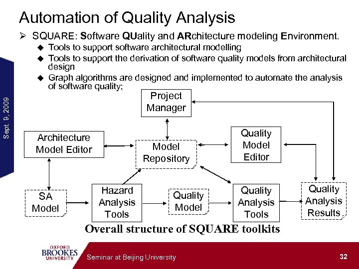 Automation of Quality Analysis Ø SQUARE: Software QUality and ARchitecture modeling Environment. Tools to