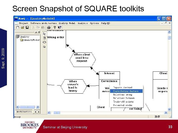 Sept. 9, 2009 Screen Snapshot of SQUARE toolkits Seminar at Beijing University 33