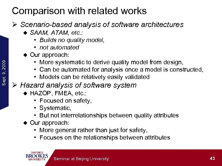 Comparison with related works Ø Scenario-based analysis of software architectures SAAM, ATAM, etc. :