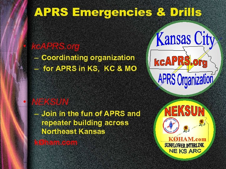 APRS Emergencies & Drills • kc. APRS. org – Coordinating organization – for APRS