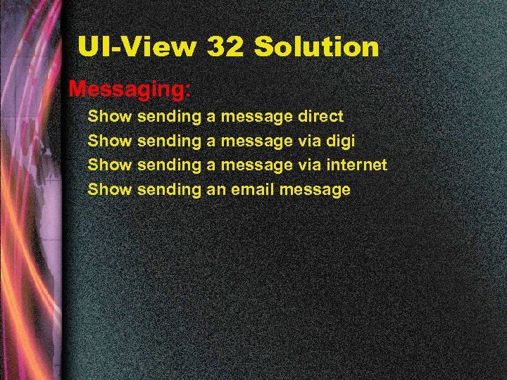 UI-View 32 Solution Messaging: Show sending a message direct Show sending a message via