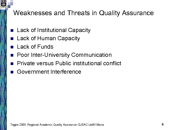 Weaknesses and Threats in Quality Assurance n n n Lack of Institutional Capacity Lack