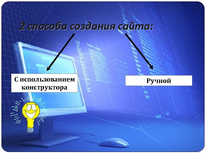 2 способа создания сайта: С использованием конструктора Ручной