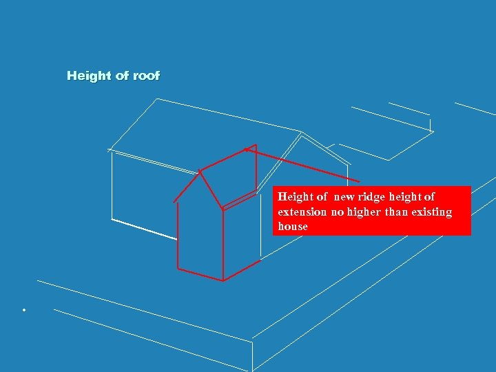 Height of roof Height of new ridge height of extension no higher than existing