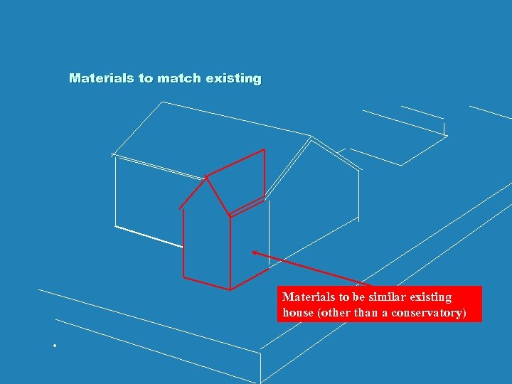 Materials to match existing Materials to be similar existing house (other than a conservatory)