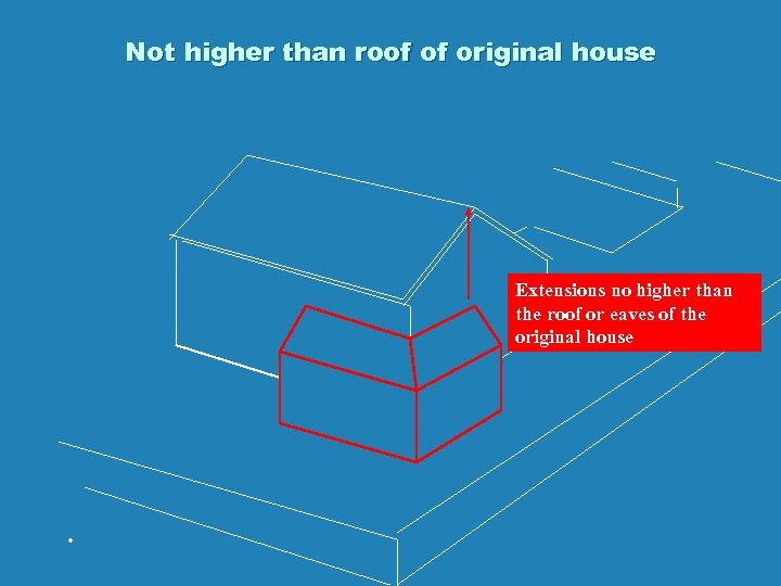 Not higher than roof of original house Extensions no higher than the roof or