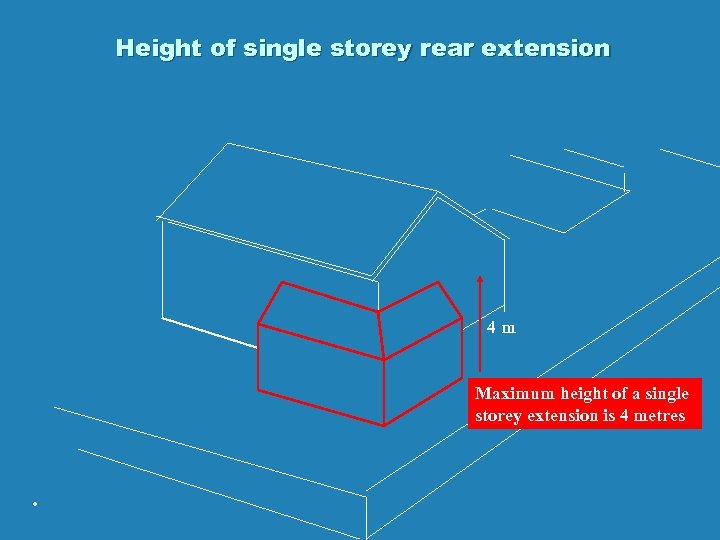 Height of single storey rear extension 4 m Maximum height of a single storey