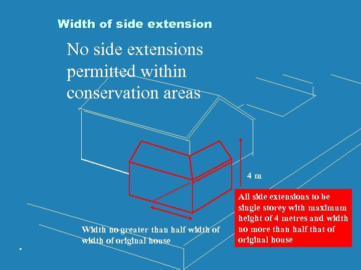 Width of side extension No side extensions permitted within conservation areas 4 m .