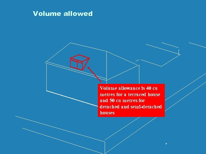 Volume allowed Volume allowance is 40 cu metres for a terraced house and 50