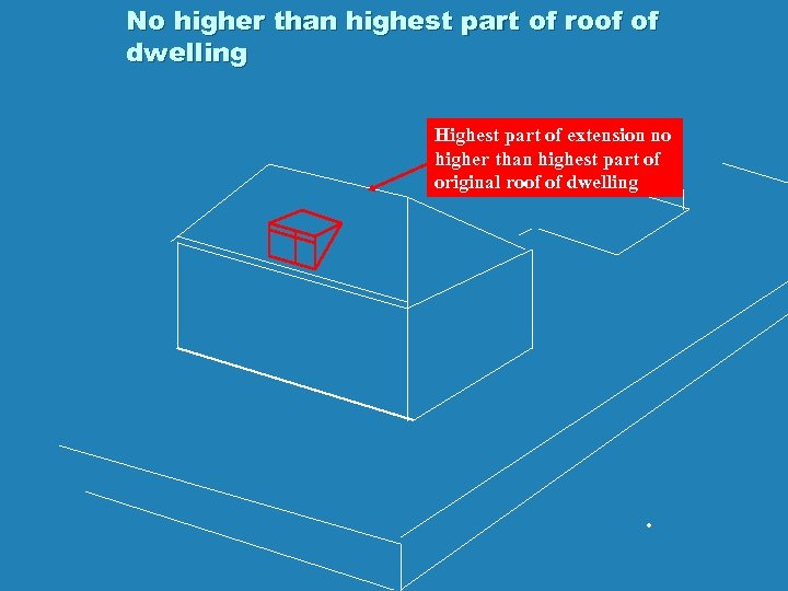 No higher than highest part of roof of dwelling Highest part of extension no