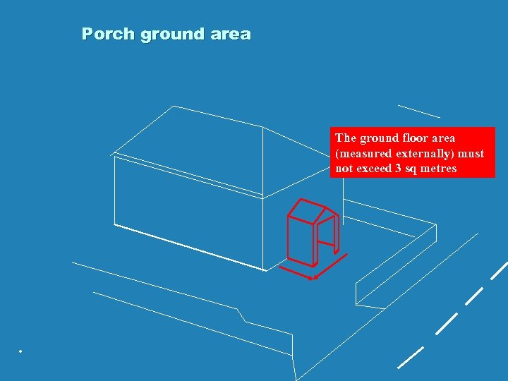 Porch ground area The ground floor area (measured externally) must not exceed 3 sq