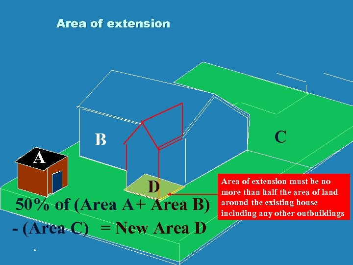 Area of extension A B D 50% of (Area A + Area B) -