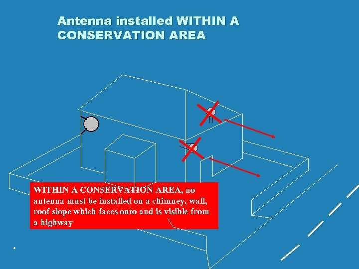 Antenna installed WITHIN A CONSERVATION AREA, no antenna must be installed on a chimney,