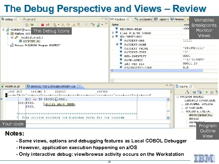 The Debug Perspective and Views – Review Variables Breakpoints Monitor Views The Debug Icons