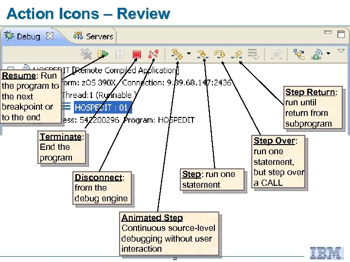 Action Icons – Review Resume: Run the program to the next breakpoint or to