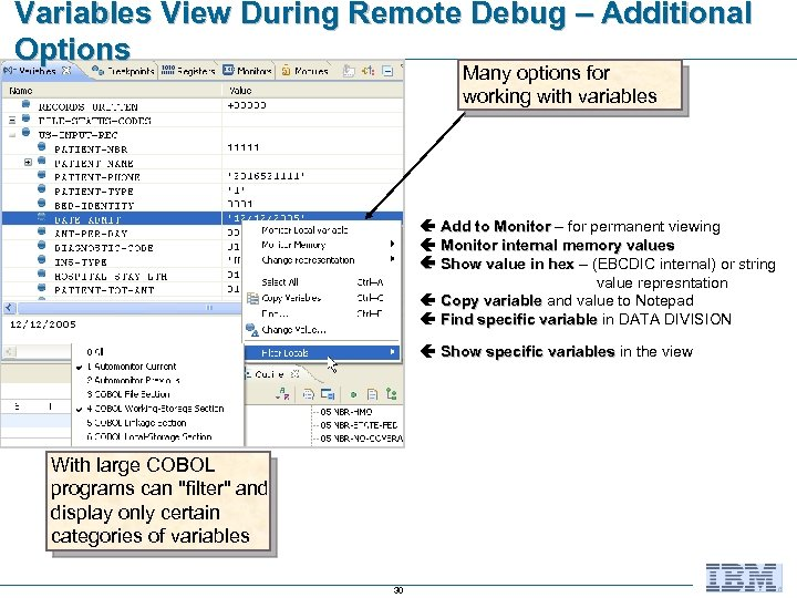 Variables View During Remote Debug – Additional Options Many options for working with variables