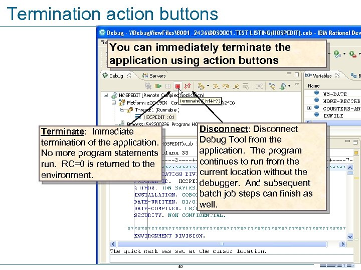 Termination action buttons You can immediately terminate the application using action buttons Disconnect: Disconnect