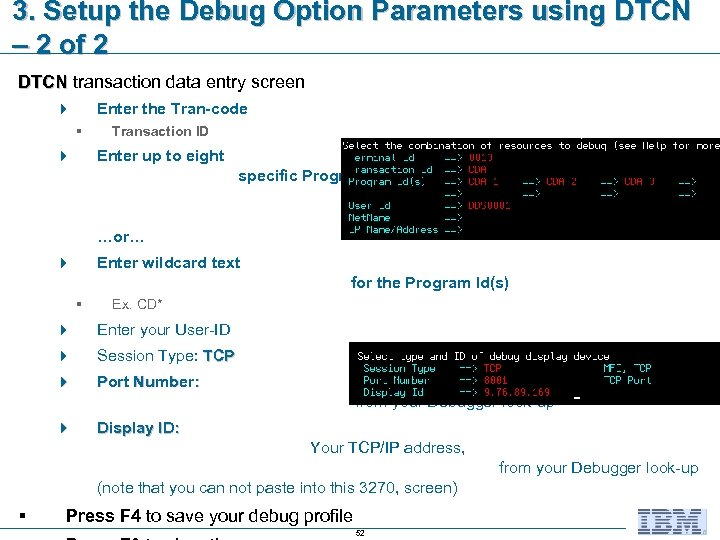 3. Setup the Debug Option Parameters using DTCN – 2 of 2 DTCN transaction