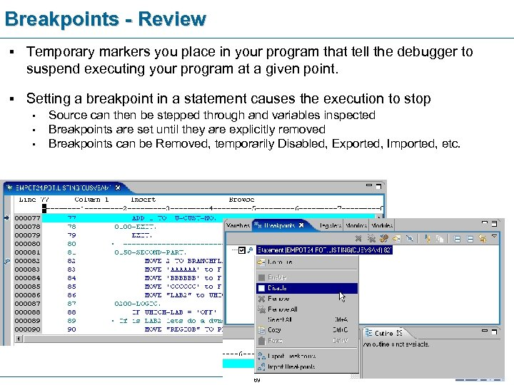 Breakpoints - Review § Temporary markers you place in your program that tell the