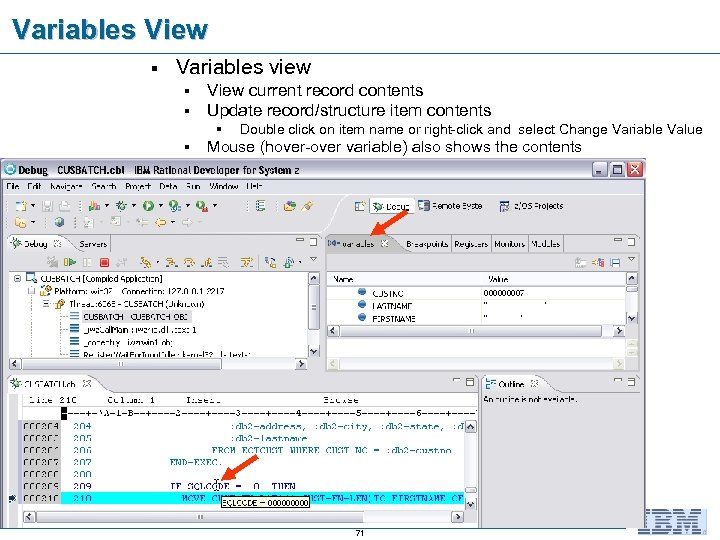 Variables View § Variables view § § View current record contents Update record/structure item