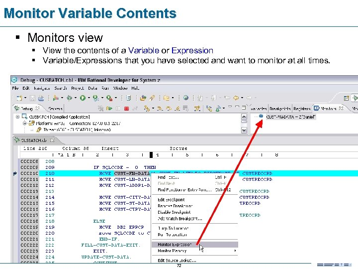 Monitor Variable Contents § Monitors view § View the contents of a Variable or