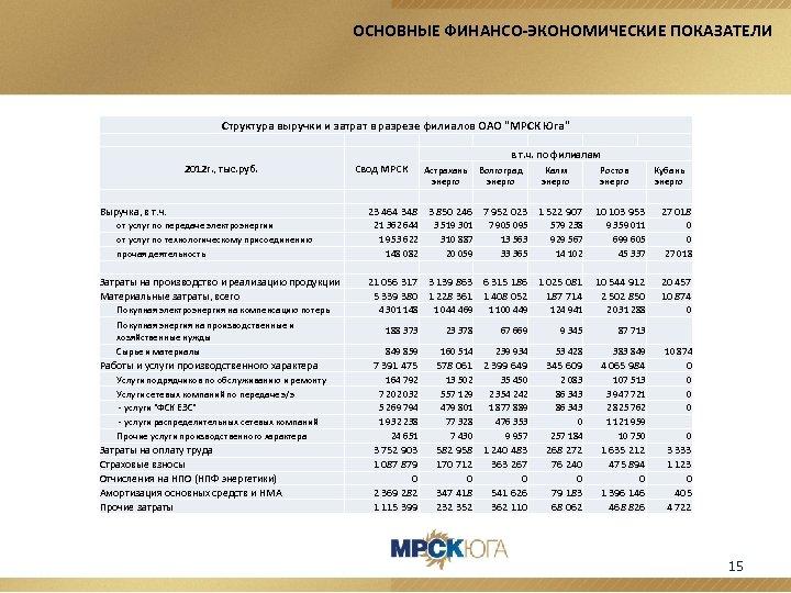 ОСНОВНЫЕ ФИНАНСО-ЭКОНОМИЧЕСКИЕ ПОКАЗАТЕЛИ Структура выручки и затрат в разрезе филиалов ОАО