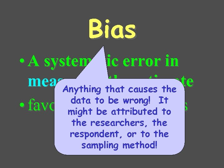 Bias • A systematic error in measuring that causes the estimate Anything data to