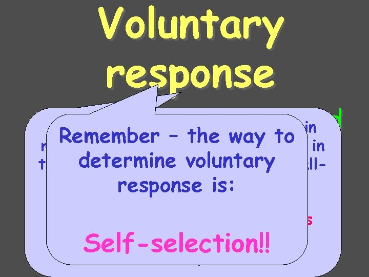 Voluntary response • People chose to surveys in An example would be the respond