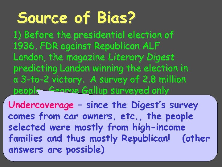 Source of Bias? 1) Before the presidential election of 1936, FDR against Republican ALF