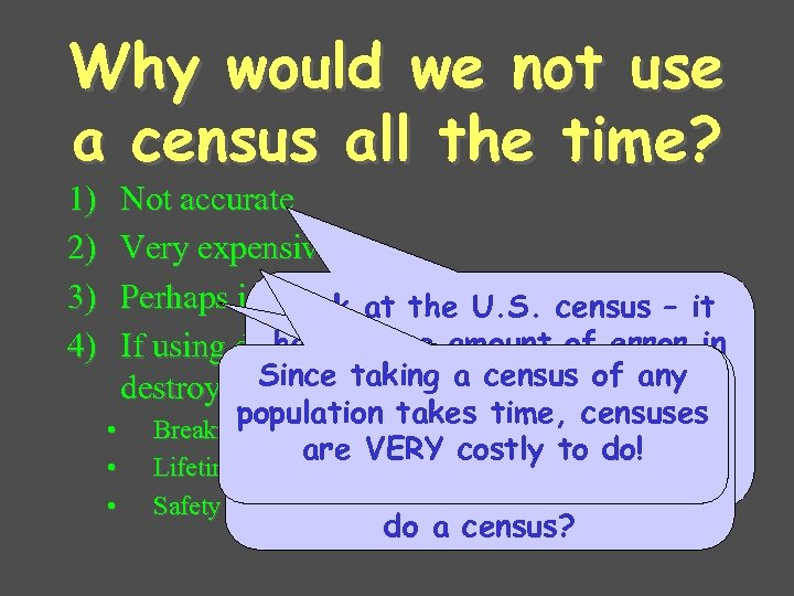 Why would we not use a census all the time? 1) 2) 3) 4)