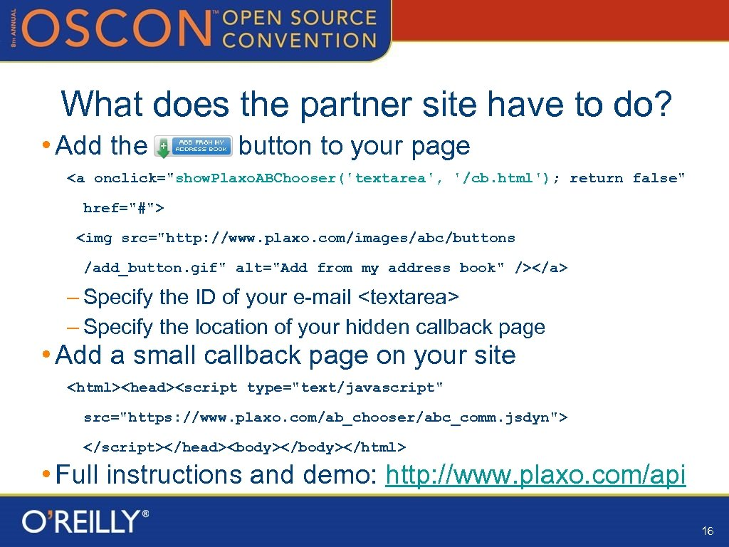 What does the partner site have to do? • Add the button to your