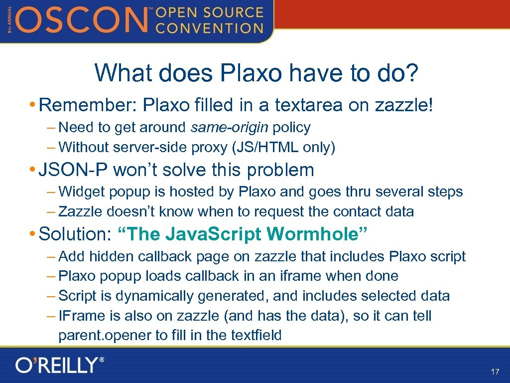 What does Plaxo have to do? • Remember: Plaxo filled in a textarea on