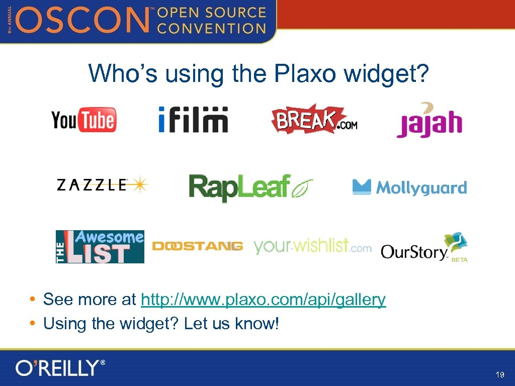 Who's using the Plaxo widget? • See more at http: //www. plaxo. com/api/gallery •