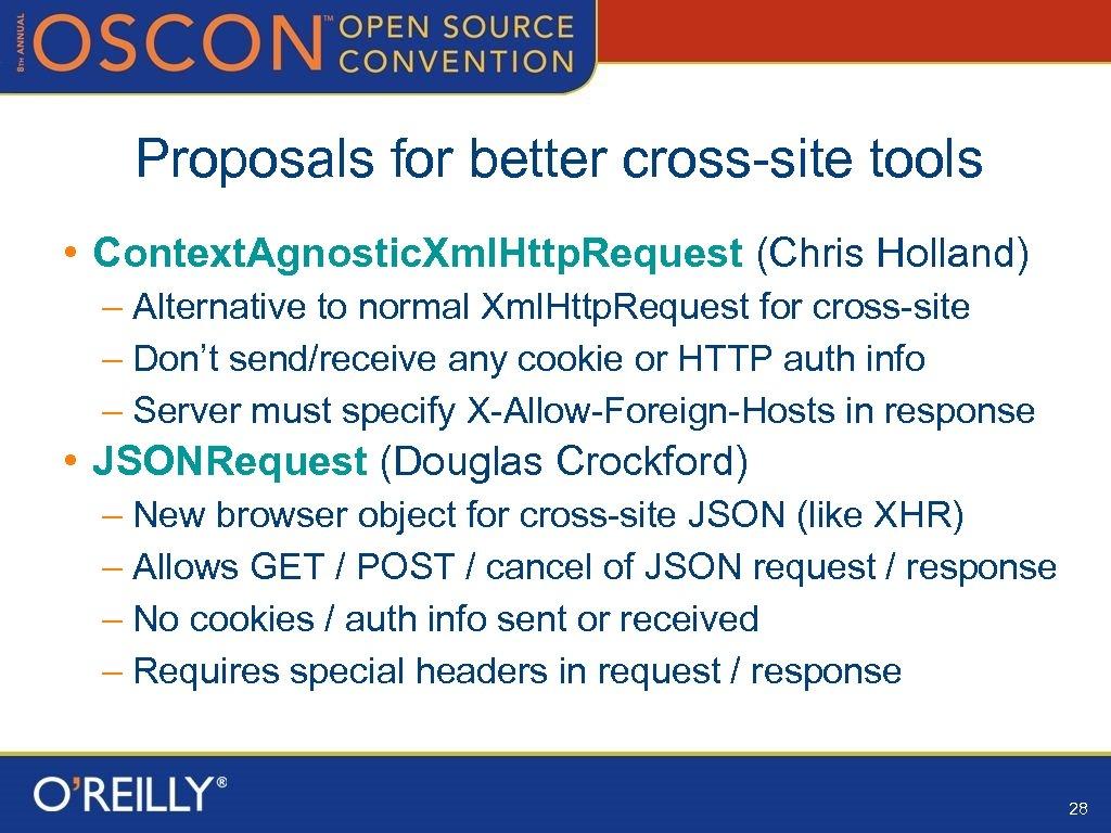 Proposals for better cross-site tools • Context. Agnostic. Xml. Http. Request (Chris Holland) –