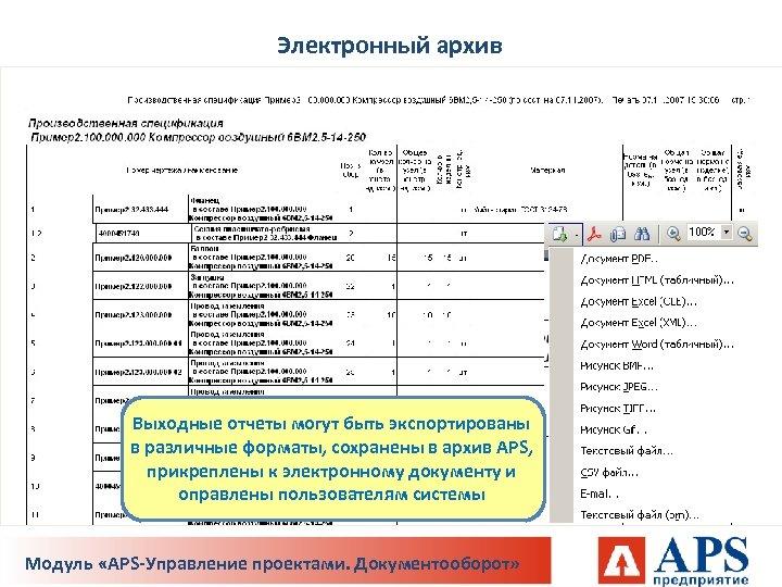 Электронный архив Выходные отчеты могут быть экспортированы в различные форматы, сохранены в архив APS,