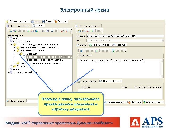 Электронный архив Переход в папку электронного архива данного документа и карточку документа Модуль «APS-Управление