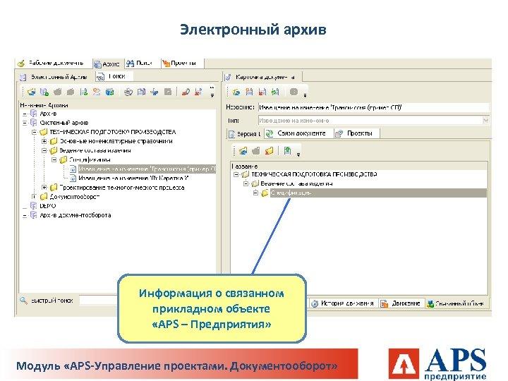 Электронный архив Информация о связанном прикладном объекте «APS – Предприятия» Модуль «APS-Управление проектами. Документооборот»