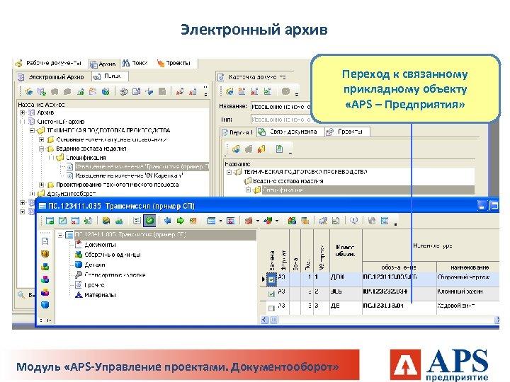 Электронный архив Переход к связанному прикладному объекту «APS – Предприятия» Модуль «APS-Управление проектами. Документооборот»