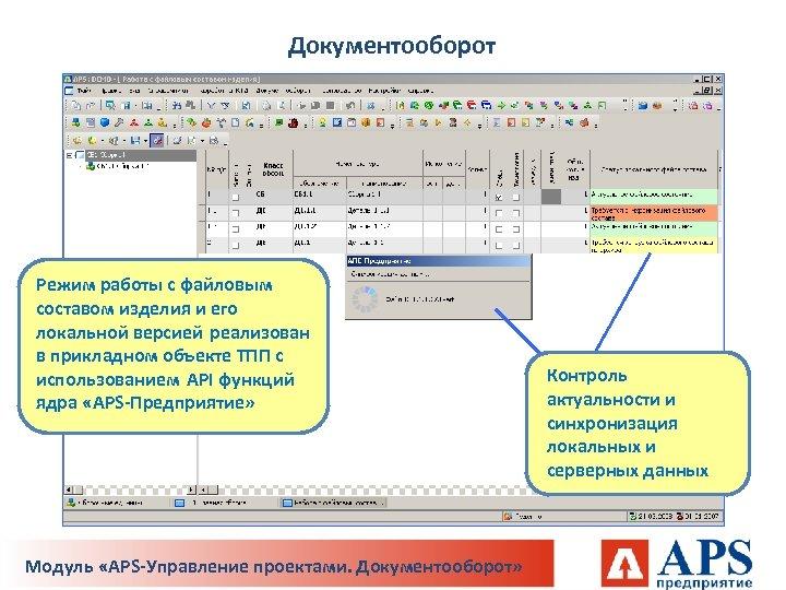 Документооборот Режим работы с файловым составом изделия и его локальной версией реализован в прикладном