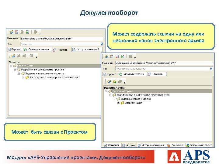 Документооборот Может содержать ссылки на одну или несколько папок электронного архива Может быть связан