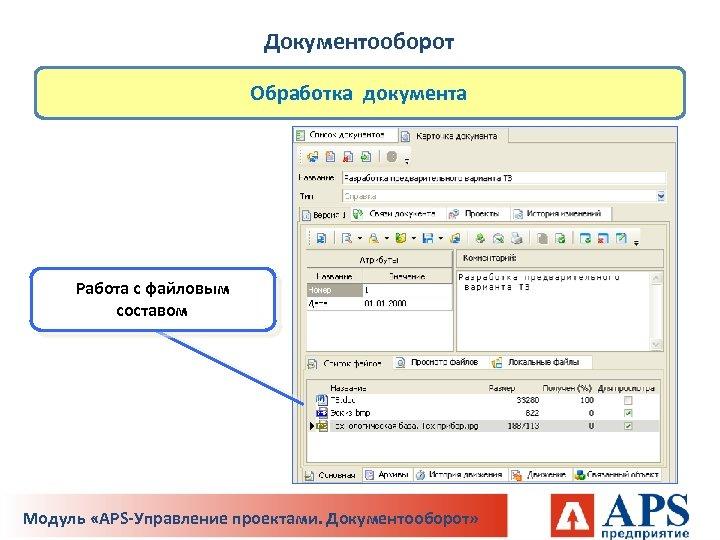 Документооборот Обработка документа Работа с файловым составом Модуль «APS-Управление проектами. Документооборот»