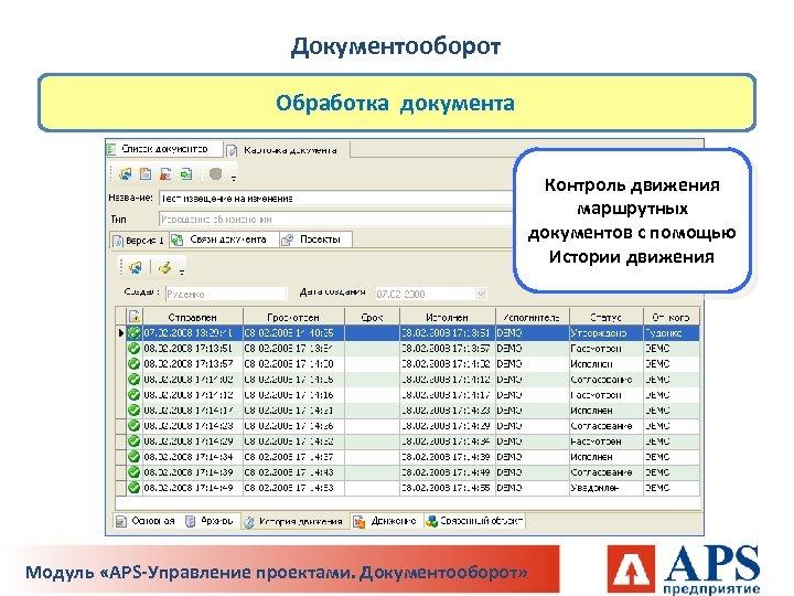 Документооборот Обработка документа Контроль движения маршрутных документов с помощью Истории движения Модуль «APS-Управление проектами.