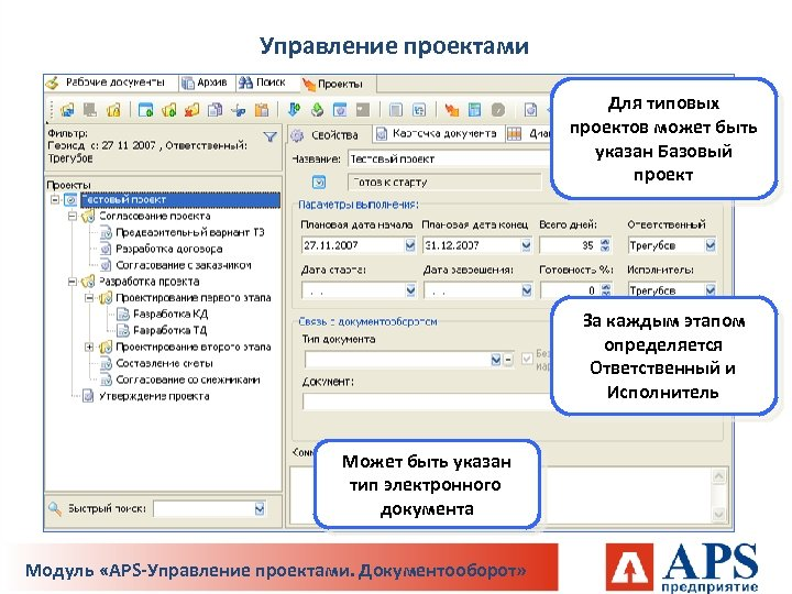 Управление проектами Для типовых проектов может быть указан Базовый проект За каждым этапом определяется
